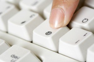 finger on keyboard