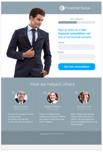 A landing page featuring a guy with a suit.