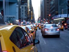 Taxis and cars in traffic
