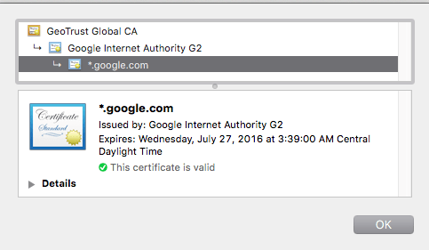 See the information shown for a website's SSL certificate.