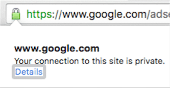 This shows that when you click on the lock symbol in your browser, more information is available.