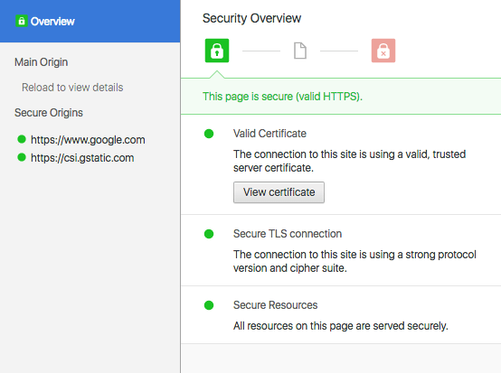 "You can find out more details about a website's security by clicking on the ""details"" link."