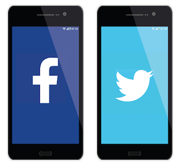 Facebook and Twitter on mobile phones