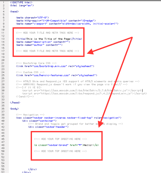 Code example showing what to do