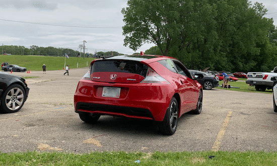 My 2015 Honda CR-Z, red, at the track