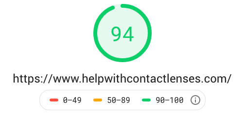 Page Speed score for HelpWithContactLenses.com website