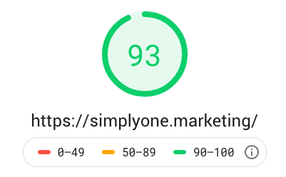 Page Speed score for the SimplyOne Marketing website