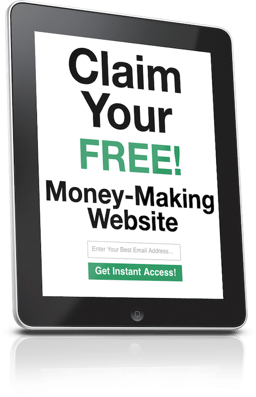 """""""Claim Your FREE! Money Making Website"""" on a tablet screen"""