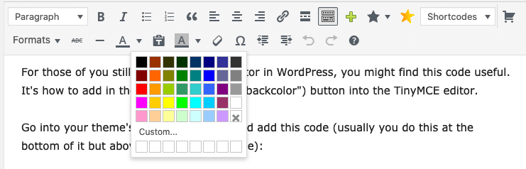 WordPress background color button in editor