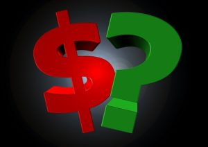 dollar sign and question mark
