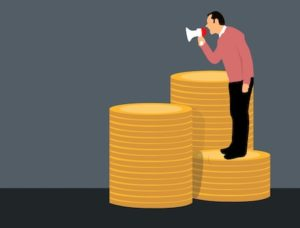 Illustration of a man on top of gold coins with a megaphone