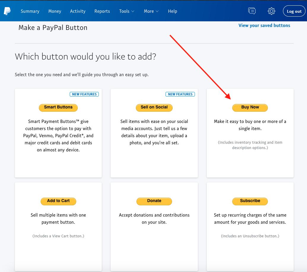 Make a PayPal button screen