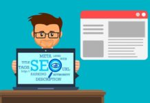 "Illustration of man with a laptop which says ""SEO"" on the screen"