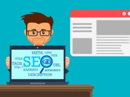 """Illustration of man with a laptop which says """"SEO"""" on the screen"""