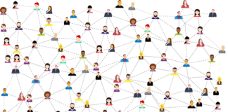 Illustration of people networking
