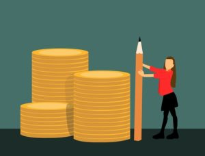 Illustration of a woman with a giant pencil by some giant gold coins