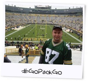 Tony at Packers game - Polaroid photo effect