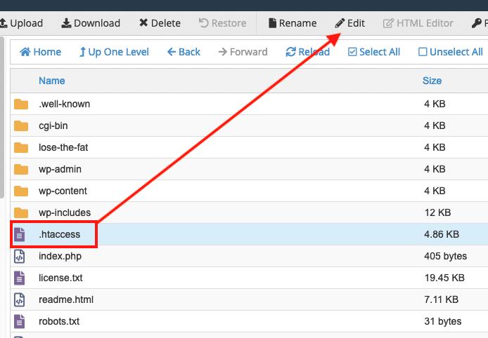 Edit the .htaccess file