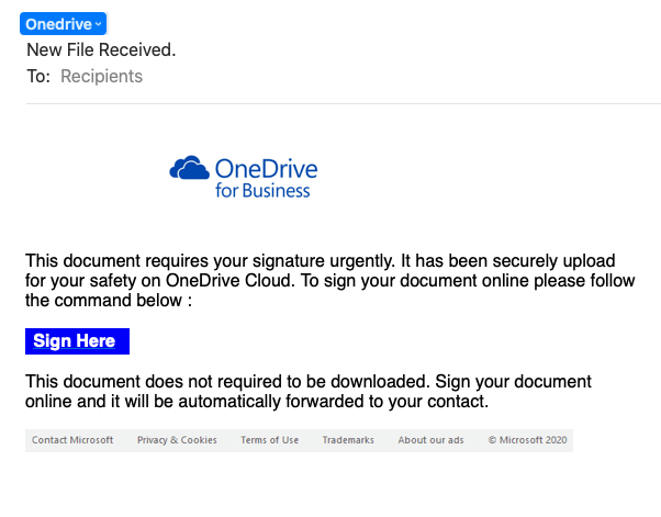 OneDrive Email Scam