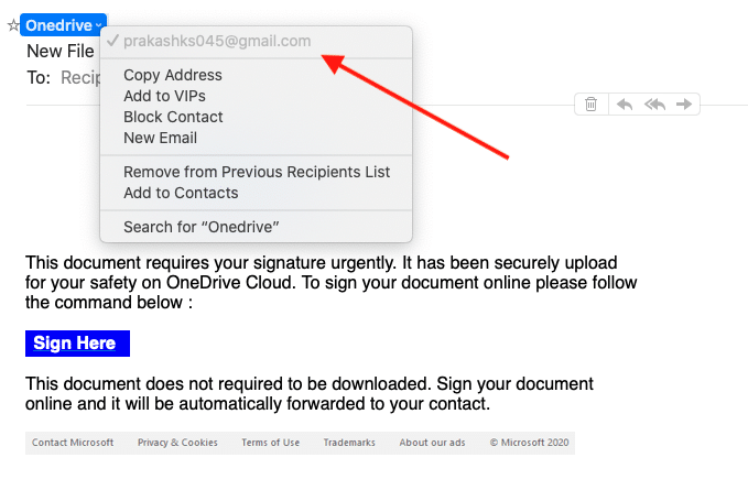 OneDrive Scam Email 2