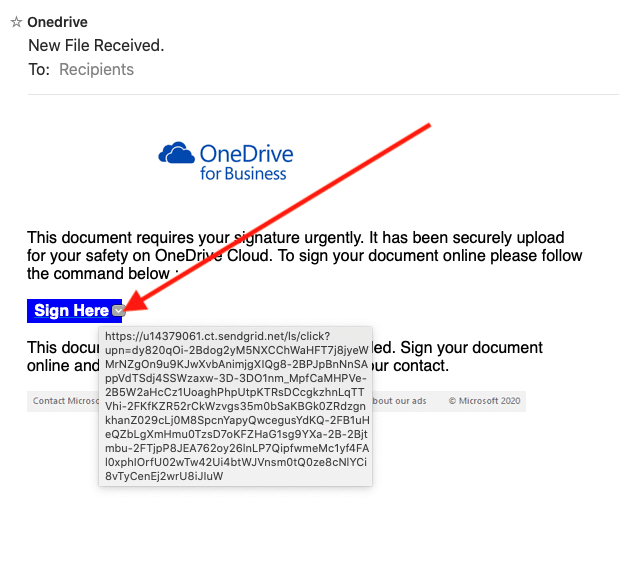 OneDrive Scam Email 3