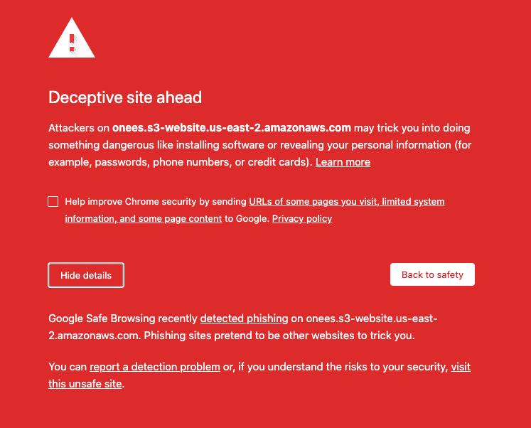 Chrome error message