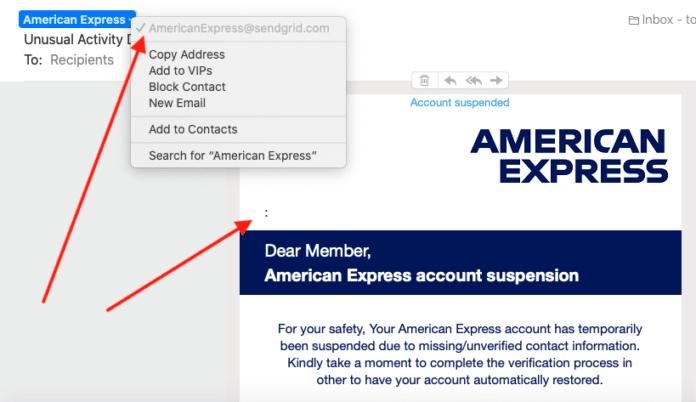 AMEX phishing scam 2