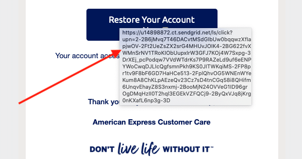 AMEX phishing scam 3
