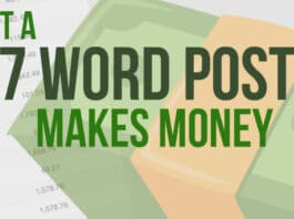 Just a 57 Word Post Makes Money