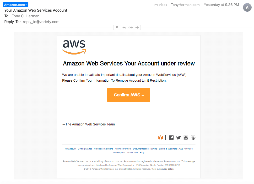 """Your Amazon Web Services Account"" suspicious email"