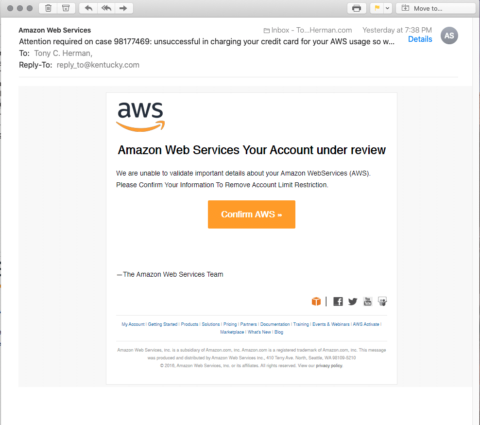 Amazon phishing scam email