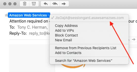 Amazon AWS phishing