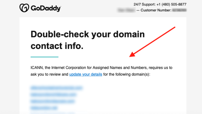 GoDaddy Domain Notice