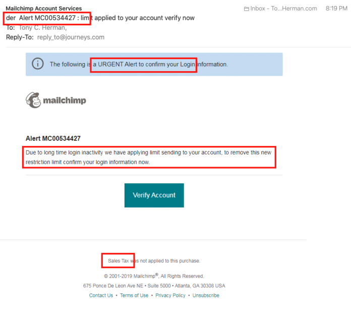 Mailchimp Phishing email scam