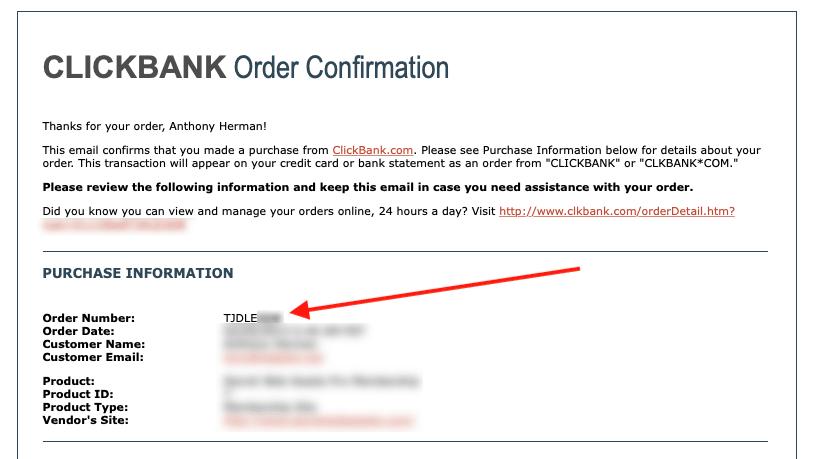 Clickbank Receipt