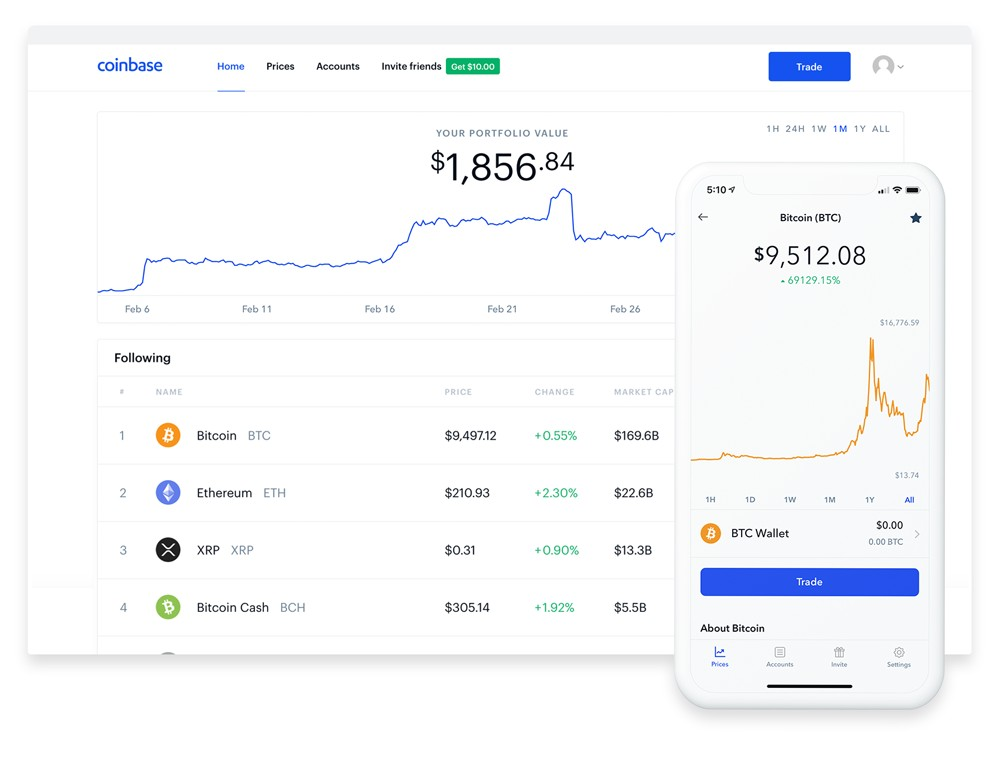 Coinbase on a laptop and mobile device